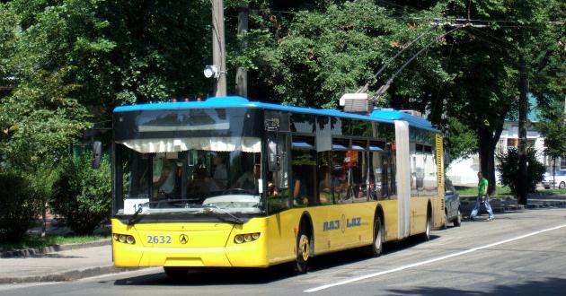 LAZ trolleybus i Kiev, Ukraine